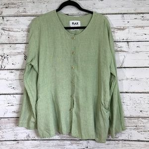 FLAX green checkered long sleeve button up top